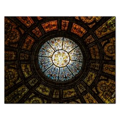 Black And Borwn Stained Glass Dome Roof Rectangular Jigsaw Puzzl by Nexatart