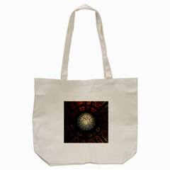 Black And Borwn Stained Glass Dome Roof Tote Bag (cream) by Nexatart