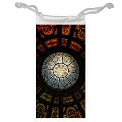 Black And Borwn Stained Glass Dome Roof Jewelry Bag by Nexatart