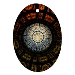 Black And Borwn Stained Glass Dome Roof Oval Ornament (two Sides) by Nexatart