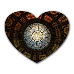 Black And Borwn Stained Glass Dome Roof Heart Mousepads by Nexatart