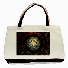 Black And Borwn Stained Glass Dome Roof Basic Tote Bag (two Sides) by Nexatart