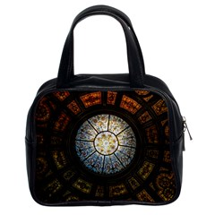Black And Borwn Stained Glass Dome Roof Classic Handbags (2 Sides) by Nexatart