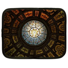 Black And Borwn Stained Glass Dome Roof Netbook Case (xl)  by Nexatart