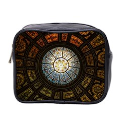 Black And Borwn Stained Glass Dome Roof Mini Toiletries Bag 2 Side by Nexatart