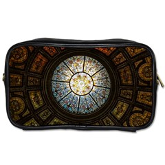 Black And Borwn Stained Glass Dome Roof Toiletries Bags by Nexatart