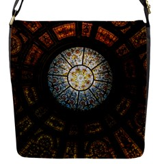 Black And Borwn Stained Glass Dome Roof Flap Messenger Bag (s) by Nexatart