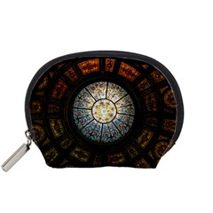 Black And Borwn Stained Glass Dome Roof Accessory Pouches (small)  by Nexatart