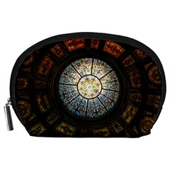 Black And Borwn Stained Glass Dome Roof Accessory Pouches (large)  by Nexatart