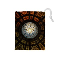 Black And Borwn Stained Glass Dome Roof Drawstring Pouches (medium)  by Nexatart