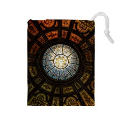 Black And Borwn Stained Glass Dome Roof Drawstring Pouches (large)  by Nexatart