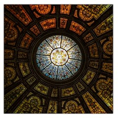 Black And Borwn Stained Glass Dome Roof Large Satin Scarf (square) by Nexatart