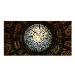 Black And Borwn Stained Glass Dome Roof Satin Shawl by Nexatart