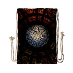 Black And Borwn Stained Glass Dome Roof Drawstring Bag (small) by Nexatart