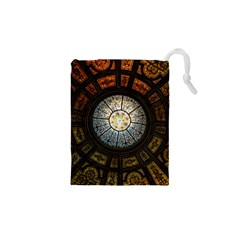 Black And Borwn Stained Glass Dome Roof Drawstring Pouches (xs)  by Nexatart