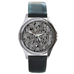 Black And White Art Pattern Historical Round Metal Watch by Nexatart