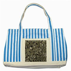 Black And White Art Pattern Historical Striped Blue Tote Bag by Nexatart