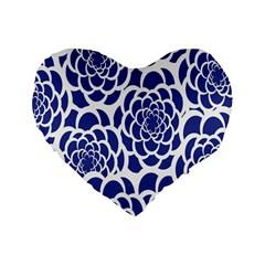 Blue And White Flower Background Standard 16  Premium Heart Shape Cushions by Nexatart