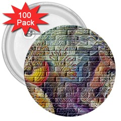 Brick Of Walls With Color Patterns 3  Buttons (100 Pack)  by Nexatart