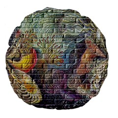 Brick Of Walls With Color Patterns Large 18  Premium Flano Round Cushions by Nexatart