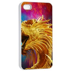 Broncefigur Golden Dragon Apple Iphone 4/4s Seamless Case (white) by Nexatart