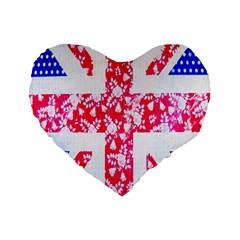 British Flag Abstract Standard 16  Premium Flano Heart Shape Cushions by Nexatart