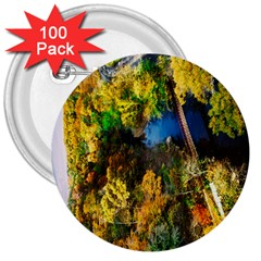 Bridge River Forest Trees Autumn 3  Buttons (100 Pack)  by Nexatart