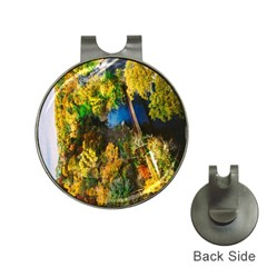 Bridge River Forest Trees Autumn Hat Clips With Golf Markers by Nexatart