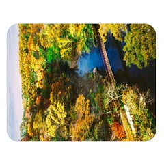 Bridge River Forest Trees Autumn Double Sided Flano Blanket (large)  by Nexatart