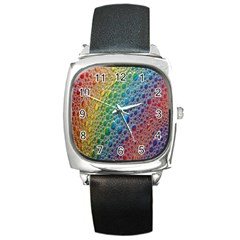 Bubbles Rainbow Colourful Colors Square Metal Watch by Nexatart