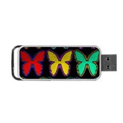Butterflies Pattern Portable Usb Flash (two Sides) by Nexatart