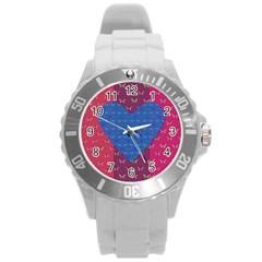 Butterfly Heart Pattern Round Plastic Sport Watch (l) by Nexatart