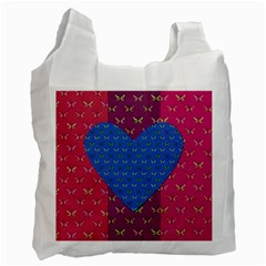 Butterfly Heart Pattern Recycle Bag (One Side) by Nexatart