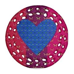 Butterfly Heart Pattern Round Filigree Ornament (two Sides) by Nexatart