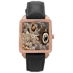 Butterfly Wing Detail Rose Gold Leather Watch  by Nexatart