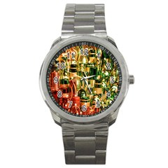 Candles Christmas Market Colors Sport Metal Watch by Nexatart
