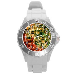 Candles Christmas Market Colors Round Plastic Sport Watch (l) by Nexatart