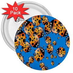 Cartoon Ladybug 3  Buttons (10 Pack)  by Nexatart