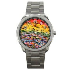 Car Painting Modern Art Sport Metal Watch by Nexatart