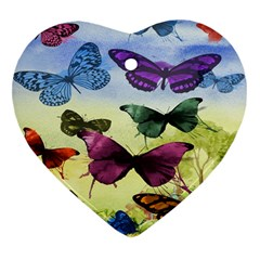 Butterfly Painting Art Graphic Heart Ornament (Two Sides)