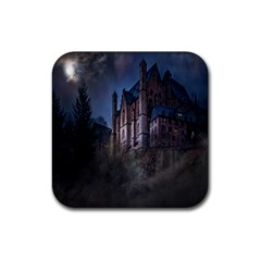 Castle Mystical Mood Moonlight Rubber Square Coaster (4 Pack)  by Nexatart