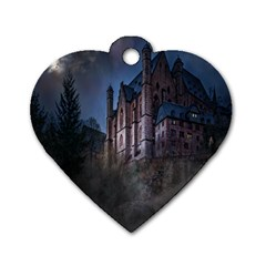 Castle Mystical Mood Moonlight Dog Tag Heart (two Sides) by Nexatart