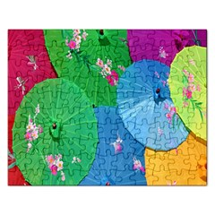 Chinese Umbrellas Screens Colorful Rectangular Jigsaw Puzzl by Nexatart