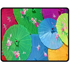 Chinese Umbrellas Screens Colorful Double Sided Fleece Blanket (medium)  by Nexatart