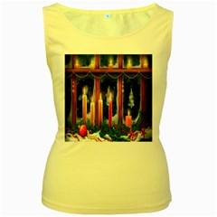 Christmas Lighting Candles Women s Yellow Tank Top by Nexatart
