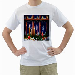 Christmas Lighting Candles Men s T Shirt (white) (two Sided) by Nexatart
