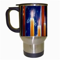 Christmas Lighting Candles Travel Mugs (white) by Nexatart