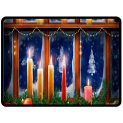Christmas Lighting Candles Double Sided Fleece Blanket (large)  by Nexatart
