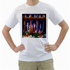 Christmas Lighting Candles Men s T Shirt (white)  by Nexatart