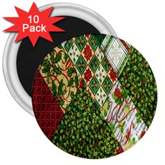 Christmas Quilt Background 3  Magnets (10 Pack)  by Nexatart